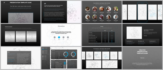 Minimal presentations, portfolio templates. Simple elements on black background. Brochure cover vector design. Presentation slides for flyer, leaflet, brochure, report. Social network concept