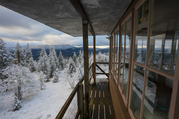 Snowy winter landscape view from top of Pickett Butte Fire Lookout near Tiller, Oregon, USA