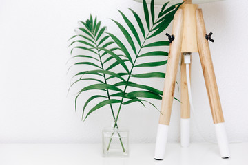 Hipster Scandinavian style room interior. Nordic lamp with tropical leaves. Simple decor objects, minimalist white interior
