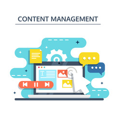 Content Management and Blogging concept in flat design. Creating, marketing and sharing of digital - vector illustration.