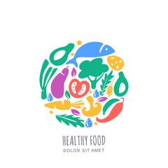 Vector vegetables market or farm shop logo, emblem, label design template. Organic healthy vegetarian food concept
