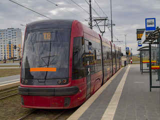 New tram waiting passengers for going destinations