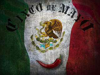 """Old Post card with text """"Cinco de mayo""""  on mexico flag background with red hot pepper"""