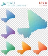 Mali geometric polygonal maps, mosaic style country collection. Sightly low poly style, modern design. Mali polygonal maps for infographics or presentation.