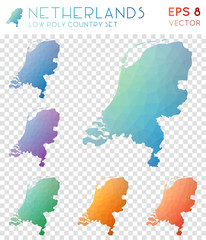Netherlands geometric polygonal maps, mosaic style country collection. Unique low poly style, modern design. Netherlands polygonal maps for infographics or presentation.