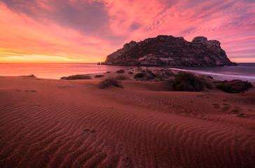 Printed roller blinds Bordeaux Amanecer en las dunas de playa amarilla - Isla del Fraile