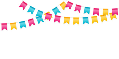 Bunting party flags. Holiday decoration. Isolated vector design elements.