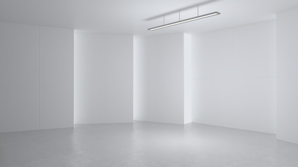 3D rendering minimalist and modern design studio room space background, high key lighting .