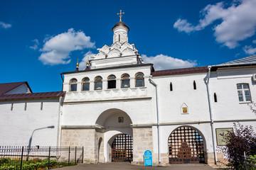 SERPUHOV, RUSSIA - AUGUST 2017: Vvedensky Vladychny Convent (Vvedenskiy Vladychnyi monastyr) in Serpukhov. The Holy Gates and the Gate Church of Theodotus of Ancyra