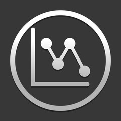 Declining graph line icon. icon in circle on dark background with simple shadow