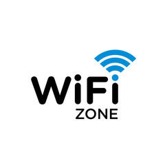 Typographic symbol of WiFi internet area with wave signal