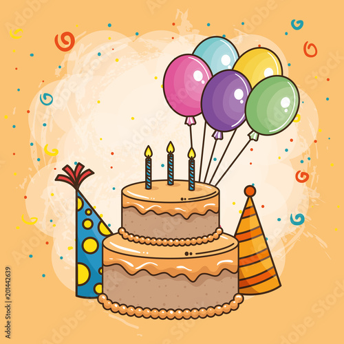 Happy Birthday Card With Sweet Cake Vector Illustration Design