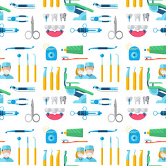 Dentist doctor character and stomatology equipment medicine instrument seamless pattern background vector illustration.