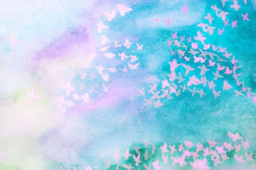 Watercolor background of turquoise paint