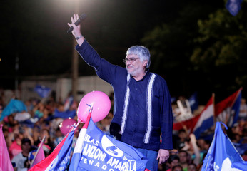 Former Paraguayan president Fernando Lugo participates in a campaign rally of presidential candidate Efrain Alegre of the GANAR coalition in Capiata