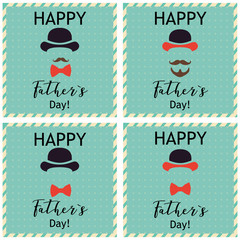 Father's day greeting.  Set of greeting cards. Vector Illustrations.