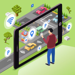 Smart parking vector illustration. Man user with smartphone touch screen control car driving to parking lot through internet connection of smart technology communication. Isometric cartoon flat design