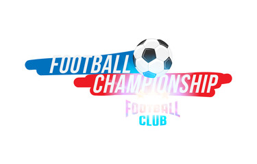 Football championship. Banner template with a football ball and text on a white background with a bright light effect