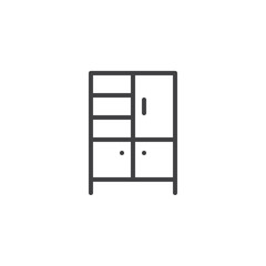 Wardrobe outline icon. linear style sign for mobile concept and web design. Cupboard simple line vector icon. Furniture symbol, logo illustration. Pixel perfect vector graphics