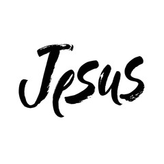 Iesus. Vector religions jesus illustration.Religious poster of faith in God. Modern brush calligraphy. Hand drawn lettering. Ink illustration.