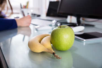 Close-up Of Bananas And Green Apple