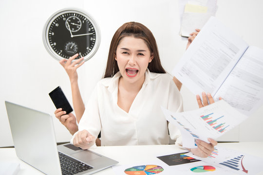 Multitasking woman busy business manager task with white background.