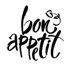 Bon appetit card. Hand drawn lettering background. Ink illustration. Modern brush calligraphy. Isolated on white background.
