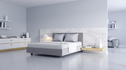 Bedroom and Modern Loft style.,Cozy white and gray room minimalist concept ,bed with Polished concrete floor and white wall ,3d rendering