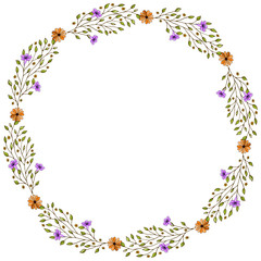 Gentle summer flowers arranged in a shape of heart. Doodle style