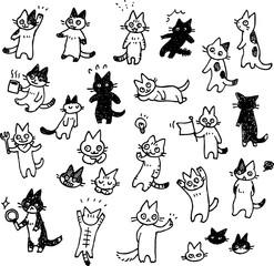 猫の手書きイラストセット モノクロ