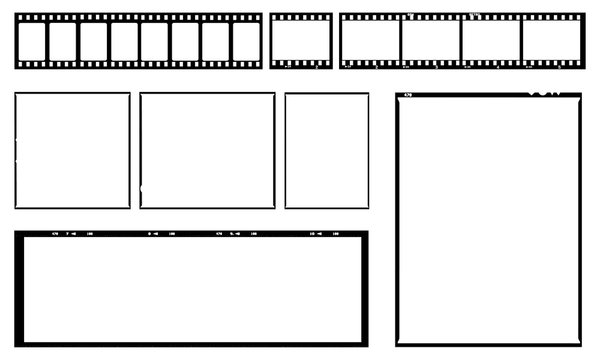 Film template with frames, empty developed black and white type 135, 120, 9x12, cinema, etc. in negative and positive.