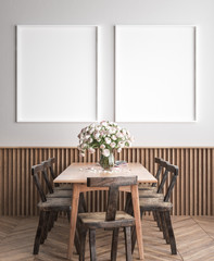 Mock up poster frame in dining room interior background, Scandinavian style, 3D render