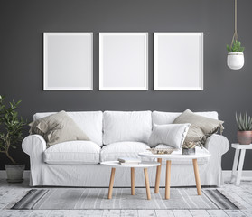 Mock up poster frame interior background, scandinavian style, 3D render