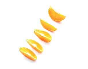 isolated wedges of orange