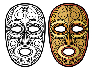 African, mexican aztec tribal mask isolated on white background