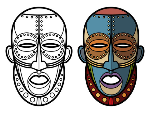 Mexican indian aztec masks coloring page