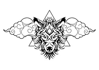 tribal wolf head tattoo decorate with oriental cloud and geometric triangle design for vector tattoo with white background