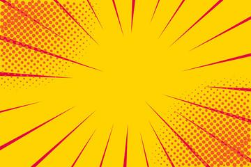 Pop art retro comic. Yellow background. Lightning blast halftone dots. Cartoon vs. Vector