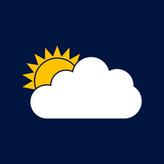 Sun and cloud vector icon