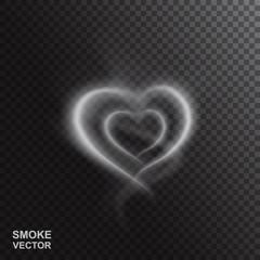 Realistic Smoke Heart Vector Illustration