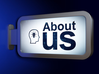 Advertising concept: About Us and Head With Lightbulb on advertising billboard background, 3D rendering