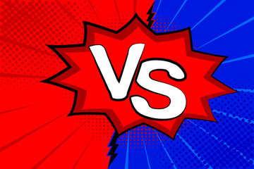 Pop art retro comic. Blue and red background. Versus lightning blast halftone dots. Cartoon vs. Vector