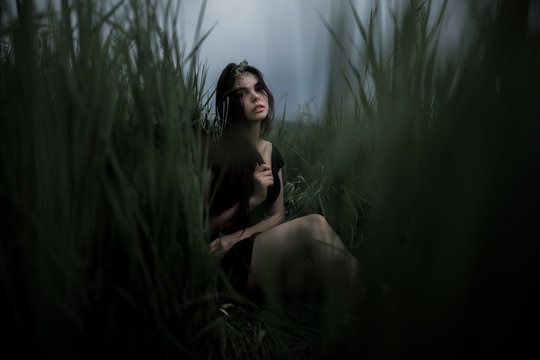 Pretty woman sitting on the grass in dark dress. Beautiful woman posing in tall grass. Brunette lady in field at sunset. Freedom concept background