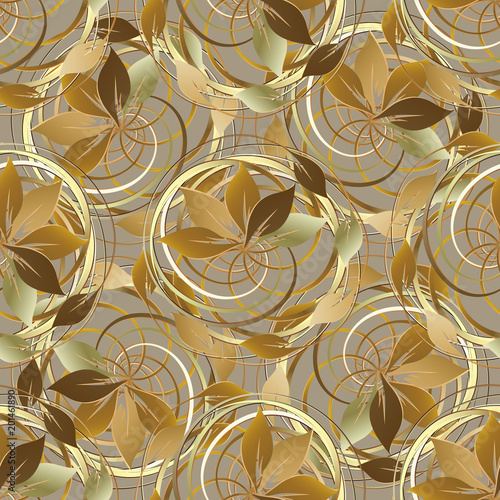 Abstract Gold Autumn 3d Seamless Pattern. Vector Leafy Floral Background.  Wallpaper. Vintage Line