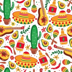 Mexican seamless pattern. Guitar, sombrero, maracas, cactus, jalapeno and tequila.