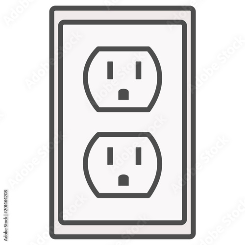 grounded power outlets symbol. white socket. electric outlet icon on ...