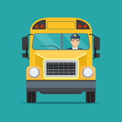 School  bus with Smiling driver in Windows. Vector flat style illustration