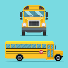 School  bus view side and front. Vector flat illustration