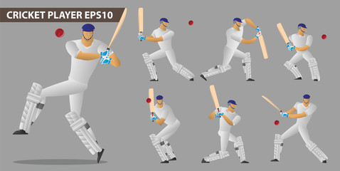 concept of a cricket players set
