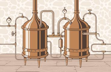 Vintage distillation apparatus sketch. Moonshining vector illustration distillation process